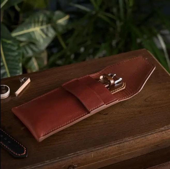 Oak & Honey Custom Leather Single Watch Pouch