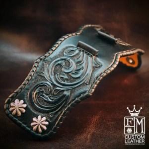 Custom Black Leather Cuff Watch Strap by Freddie Matara