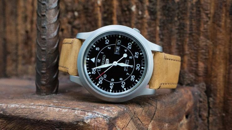 Barton Bands Gingerbread Leather Quick-Release Strap on a Seiko SNK 809