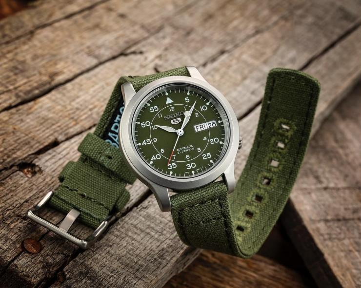 Barton Bands Green Canvas Strap on a Seiko SNK 805