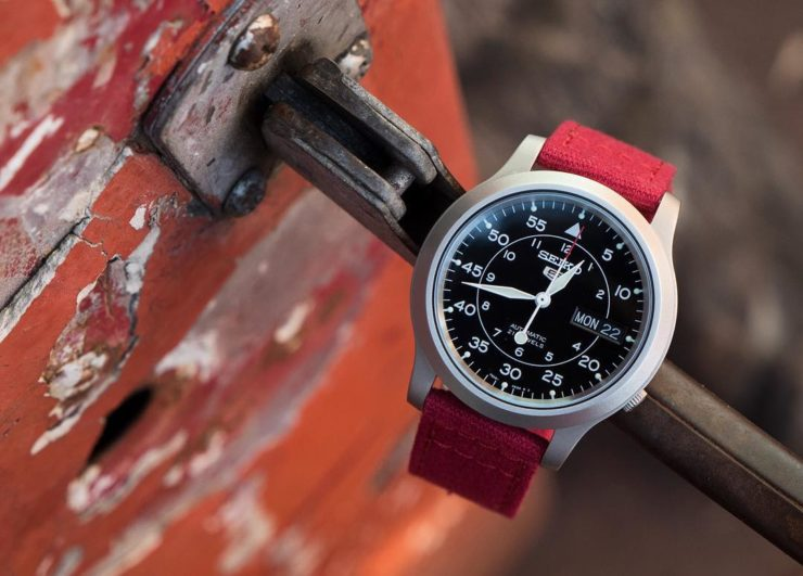 Barton Bands Red Crimson Quick-Release Strap on a Seiko SNK 809