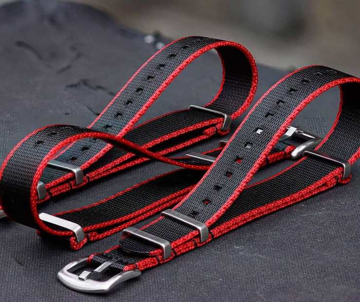 B&R Bands Seat Belt NATO Straps in Red & Black