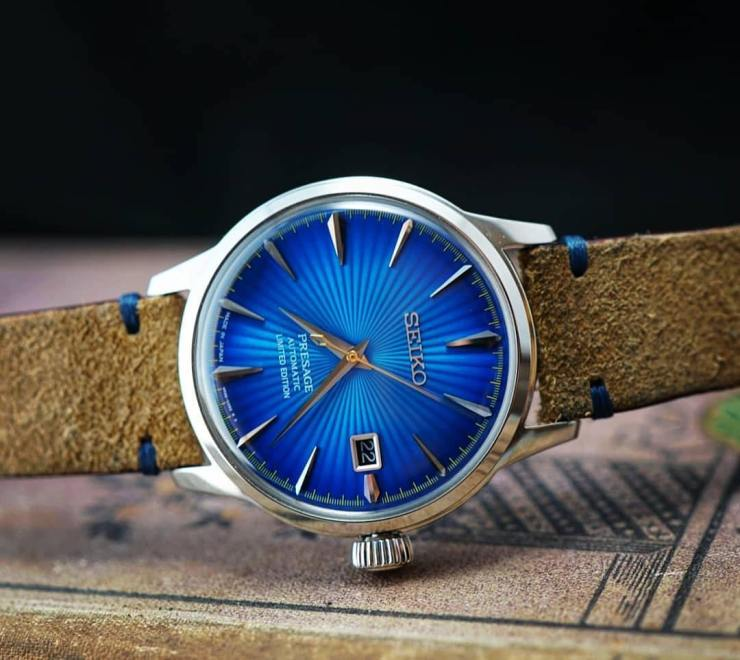 Seiko Presage Blue Planet Edition on a Beige Reversed Leather strap from Two-Stitch Straps - photo credit seiko_b_