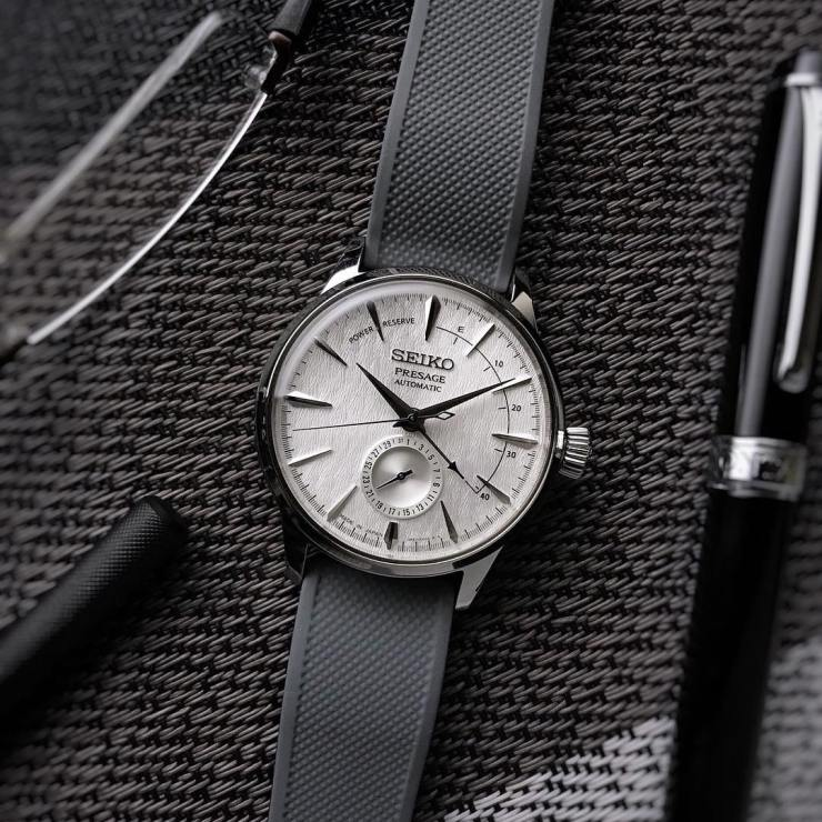Seiko Presage Cocktail Time Watch on a Barton Bands Gray Silicone strap - picture credit - dp graphics