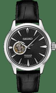 Seiko Presage Cocktail Time Open Heart - Black Dial - Gold Case - SSA359