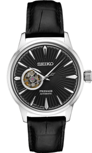 Seiko Presage Cocktail Time Open Heart - Black Dial - Gold Case - SSA359