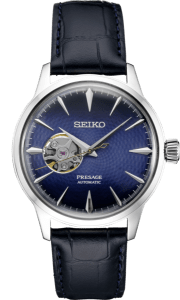 Seiko Presage Cocktail Time -Geocentric Blue Dial on Leather - Open Heart - SSA785 - Ladies