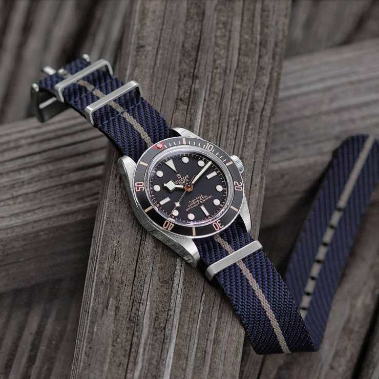 B&R Bands Blue and Grey NATO strap on a Tudor Black Bay watch