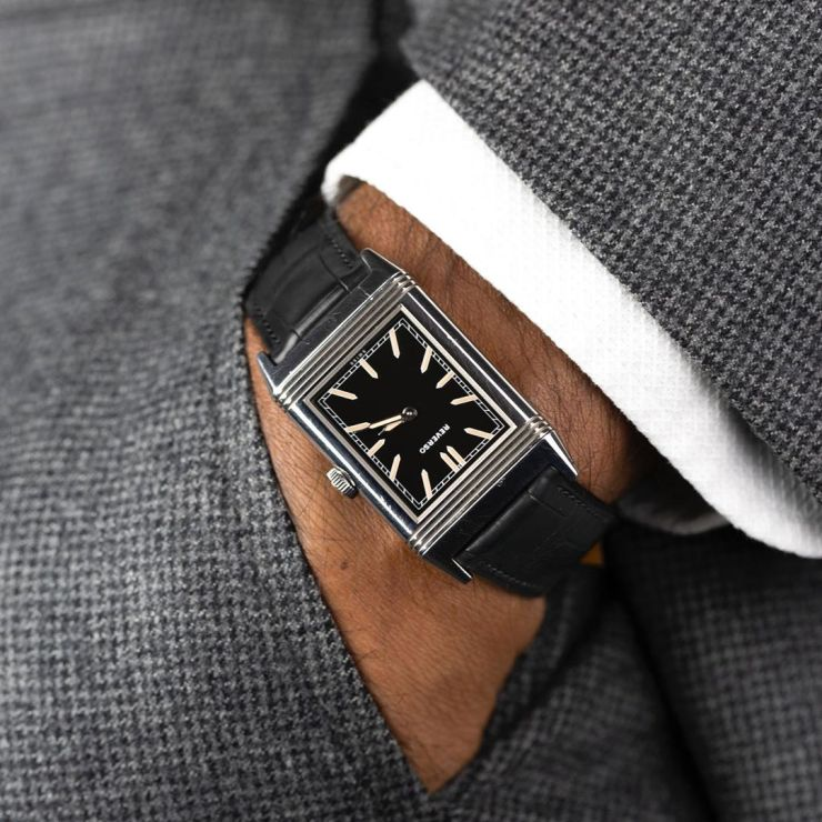 Black square scale alligator strap from Molequin on a Reverso Watch