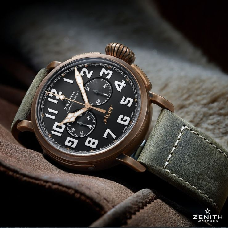 Bronze Zenith Pilot Watch on the stock green leather strap