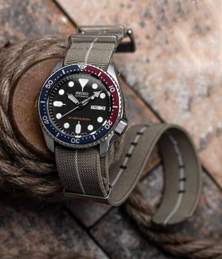 E-NATO strap from ZULUDIVER - Sold by Watch Gecko - on a modded Seiko SKX diver