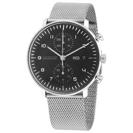 Junghans Max Bill Chronoscope Black Dial Mesh Band