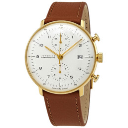 Junghans Max Bill Chronoscope White Dial Gold Case Brown Band
