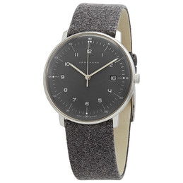 Junghans Max Bill Quartz Black Dial Grey Strap