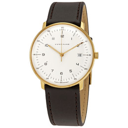 Junghans Max Bill Quartz Gold Case White Dial Grey Strap