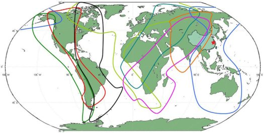 The migration routes of migrant birds