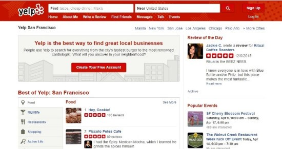User Generated Content on Yelp