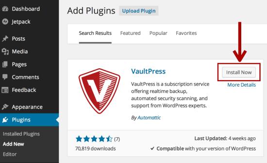 VaultPress Blog Security Tool