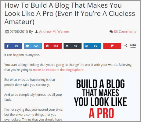 Andrew Warner post on Basic Blog Tips