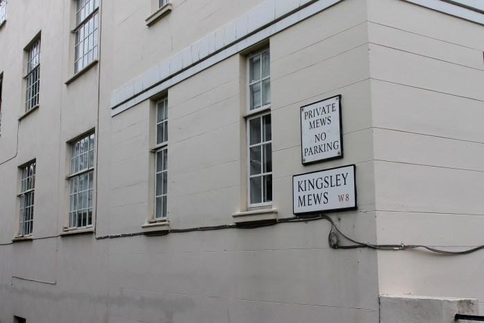 Down the alleyway to Kingsley Mews