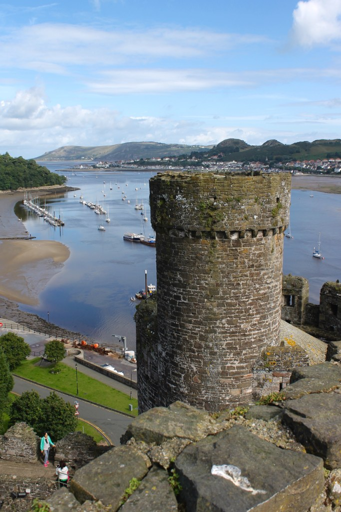 View over the harbor from Conwy Castle, Wales