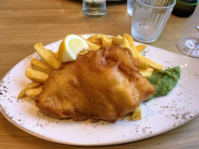 Gluten free fish and chips at City Restaurant, Edinburgh, Scotland