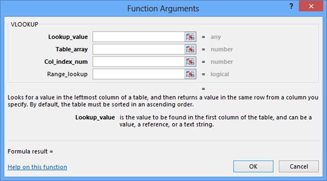VLOOKUP Parameters function arguments