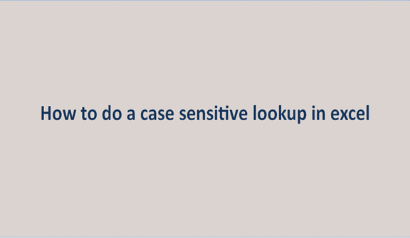 How to do a case sensitive lookup in Excel