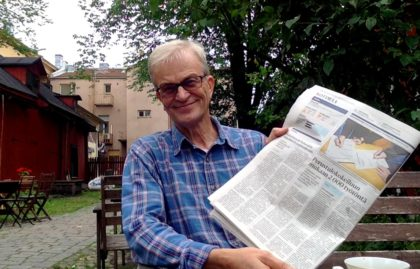 Jan Otto Andersson with an article in the Helsingin Sanomat
