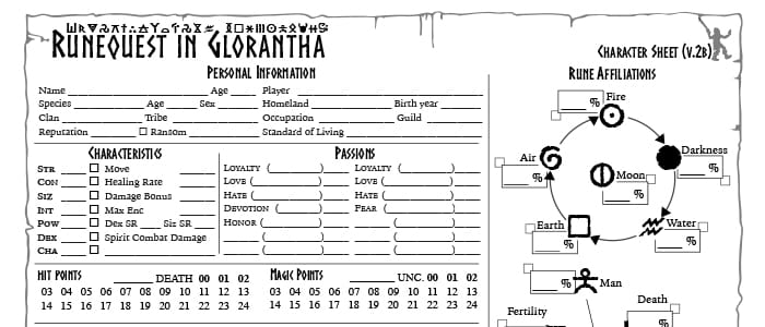 RuneQuest Glorantha Character Sheet – Take 2