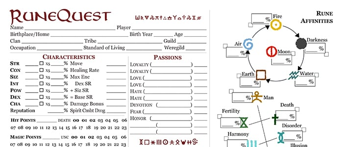 RuneQuest – Roleplaying in Glorantha Updated Character Sheet (pre-release)