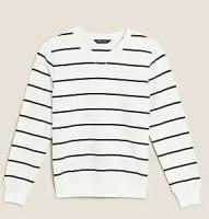 M&S Pure Cotton Striped Crew Neck Sweatshirt