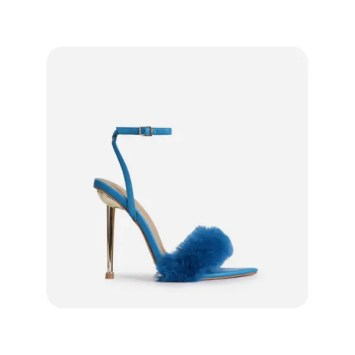 Plush-Dreams Pointed Toe Fluffy Metallic Heel In Teal Blue Faux Leather