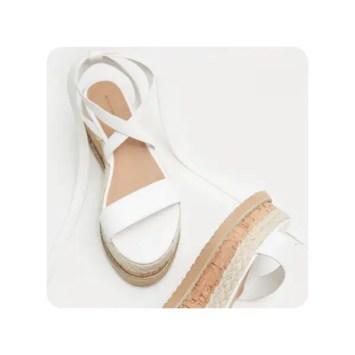 Niella White Espadrille Flatform Sandals by PLT