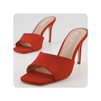 Mogul Low Dressy Mules Red Nubuck at Office Shoes