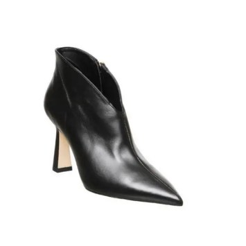 Millicent Flared Heel Shoeboots Black Leather at Office Shoes