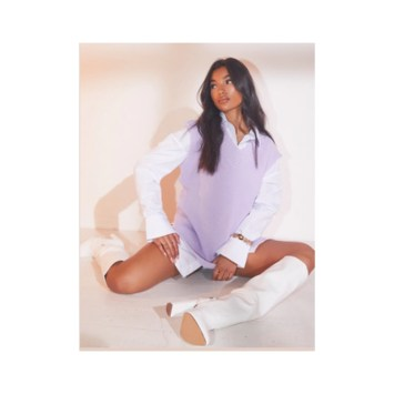 Pretty little thing lilac top and white boots