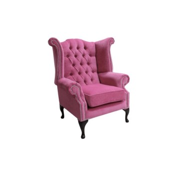 Chesterfield Fabric Queen Anne High Back Wing Chair Pimlico Fuchsia Pink designer sofas 1