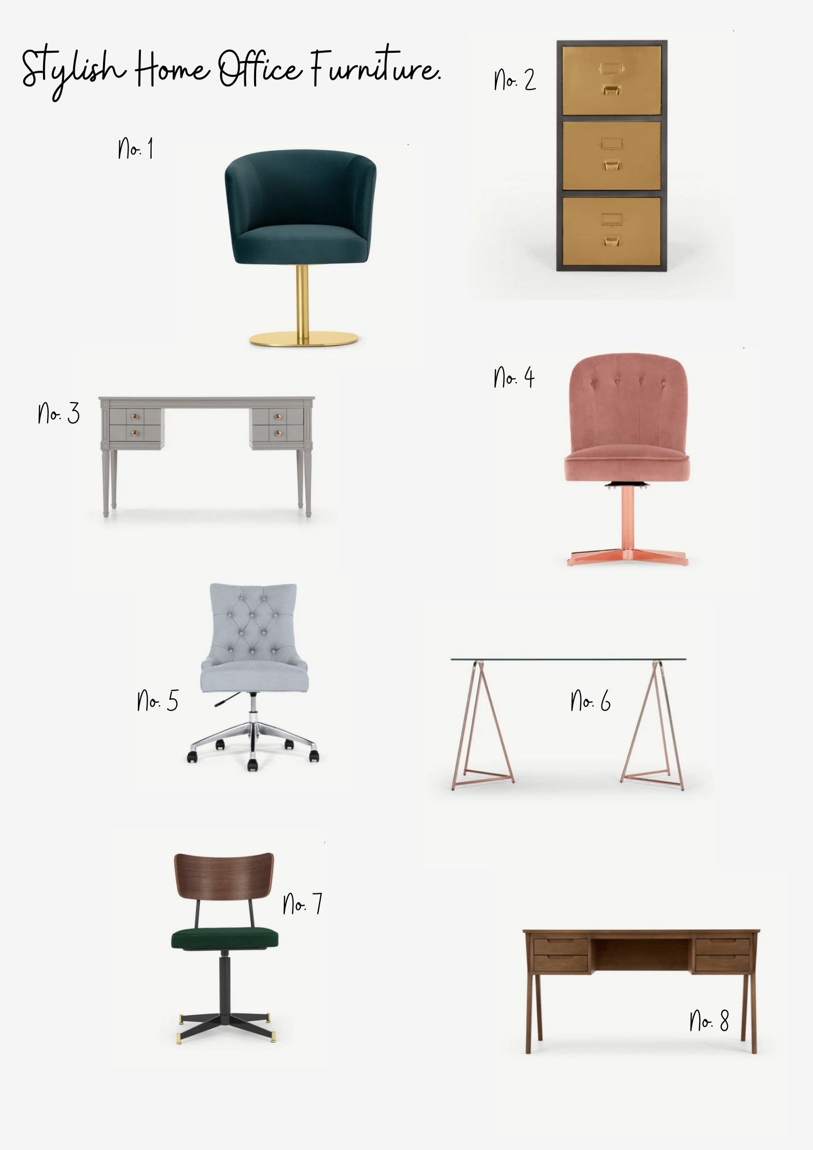 collection of home office chairs and desks.