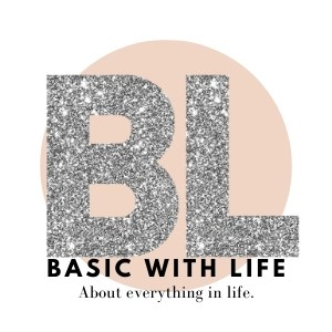 B and L Basic with life logo in silver glitter with a peach colour circle behind it.