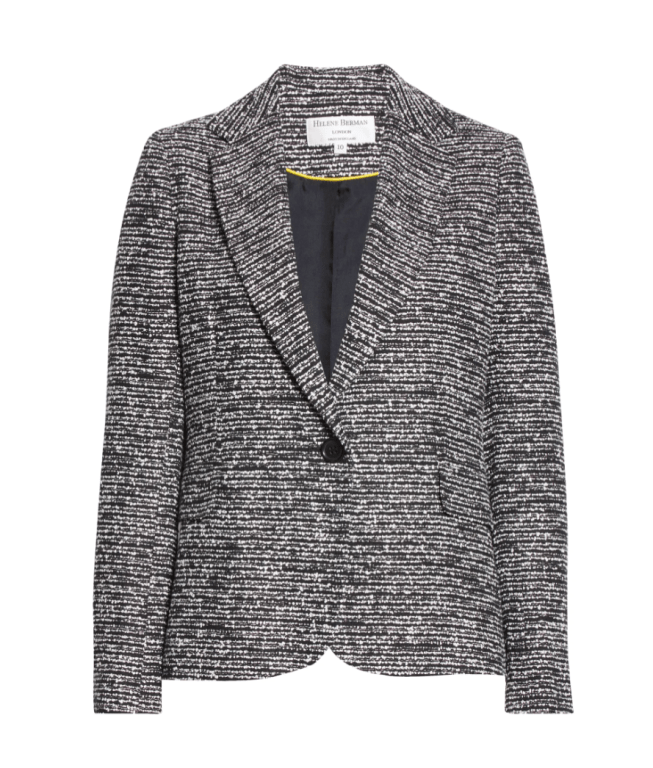 black and white tweed knit blazer with a button in the center