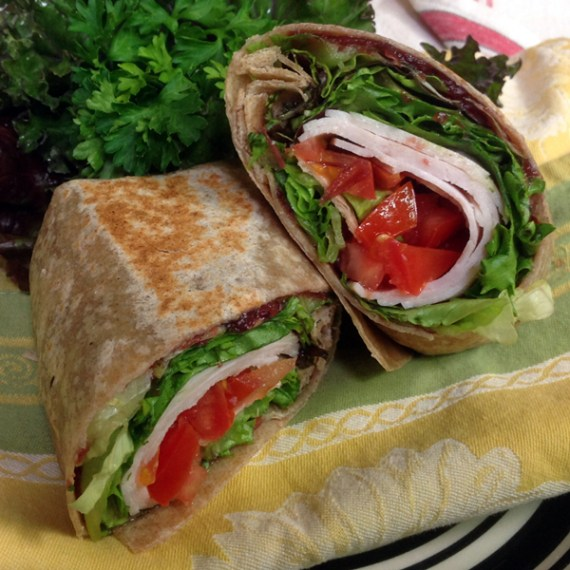 Roast Turkey wrap, Basil Bandwagon Farm to Market Cafe