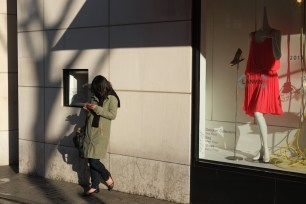 Afternoon sun, woman and red dress