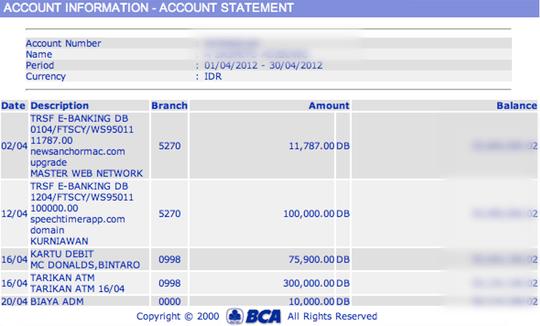 BCA Account Statement