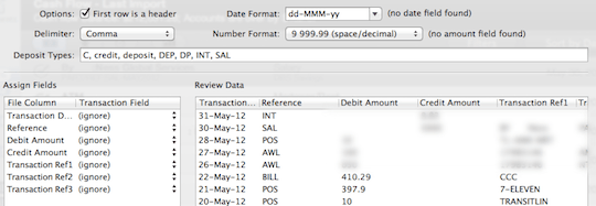 MoneyWell CSV Import Dialog