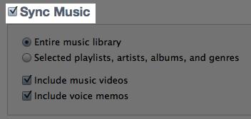 iTunes Sync Music Checkbox