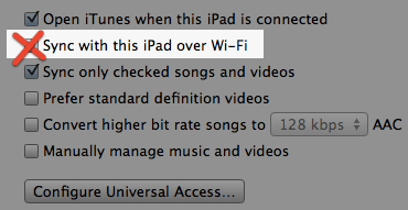 ITunes do not sync Wi-Fi