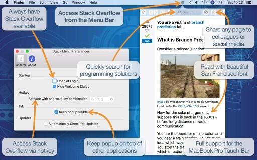 Stack Menu desktop screenshot
