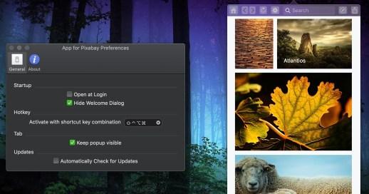 Menu Bar App for Pixabay