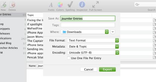 MacJournal export dialog